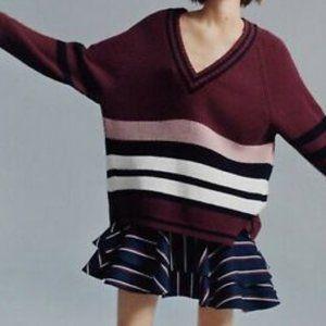 Maroon Varsity Striped V-neck Over sized Sweater